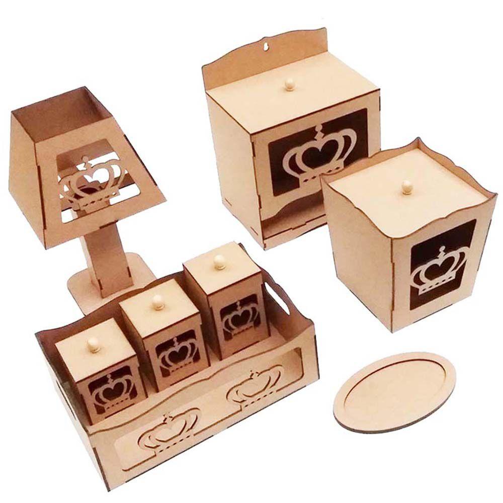 Kit bebê coroa 8 peças mdf Kit higiene quarto infantil bebe