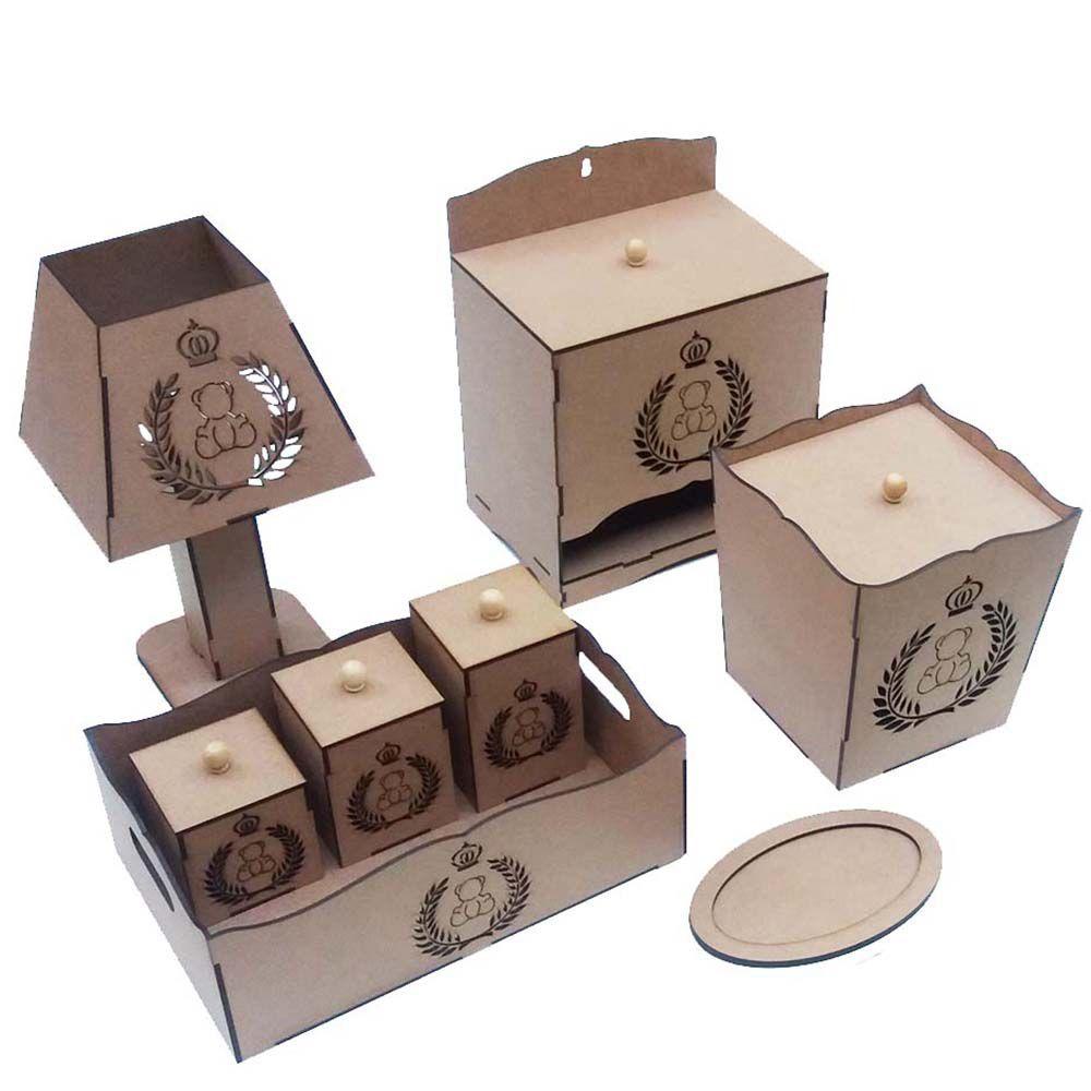 Kit bebê urso real 8 peça mdf laser Kit higiene quarto bebe