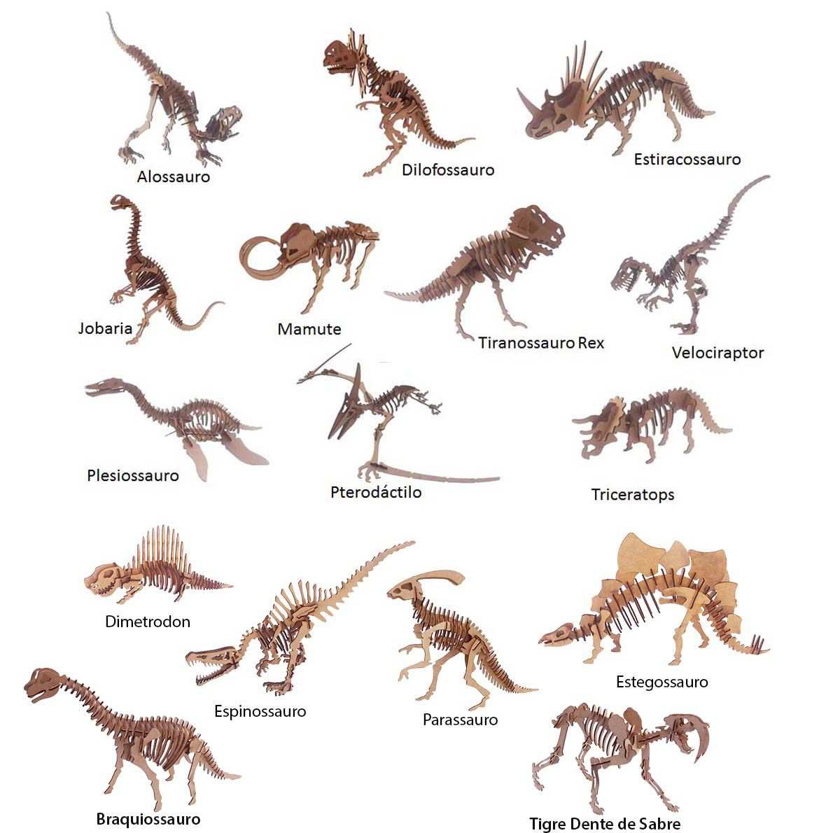 Kit 16 dinossauro mdf quebra cabeça 3d coleção dino jurassic