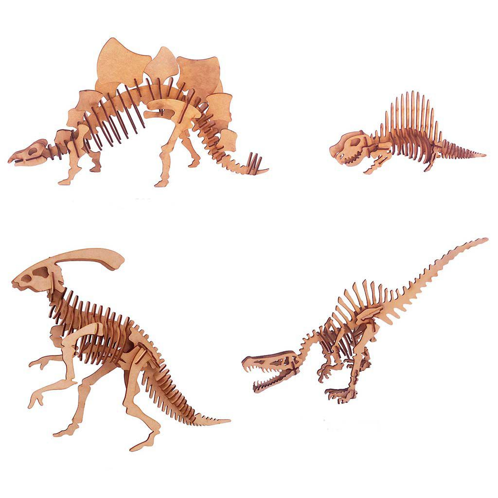 Kit 4 dinossauro mdf quebra cabeça 3d coleção dino