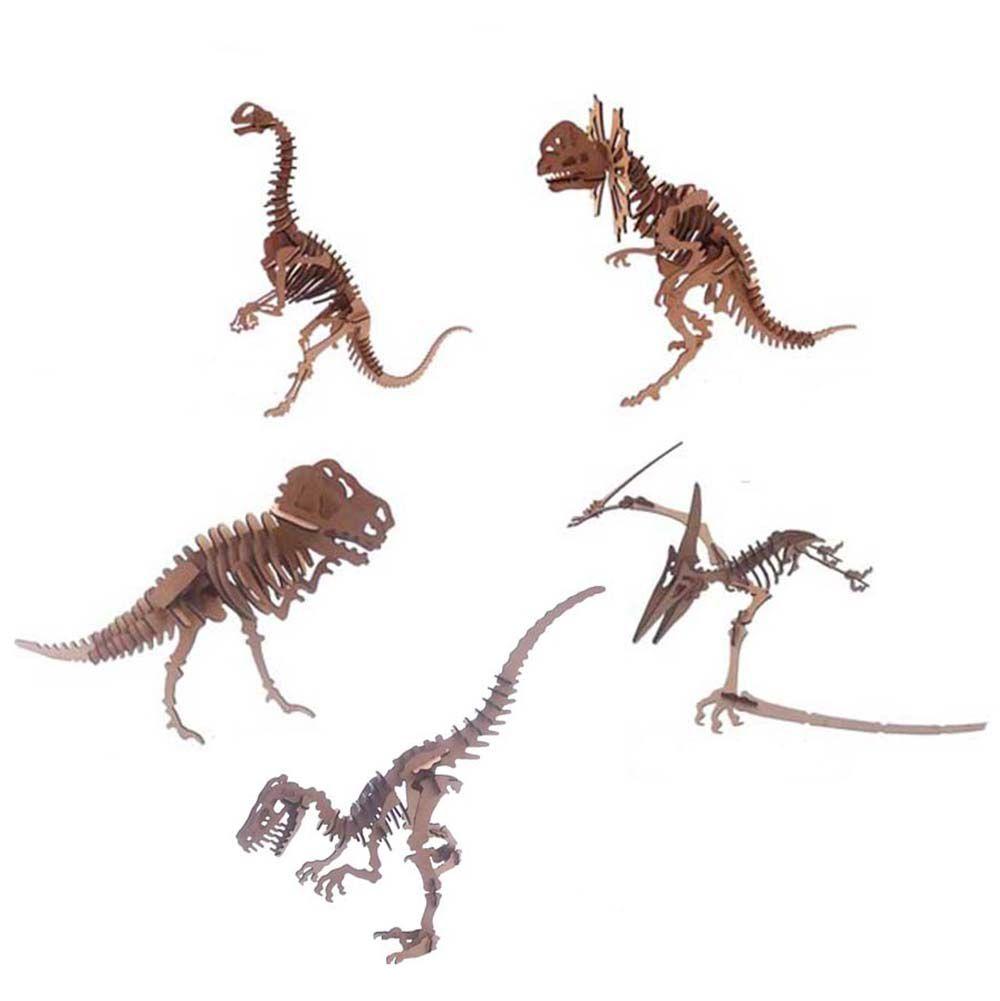 Kit 5 dinossauro mdf quebra cabeça 3d coleção dino jurassic