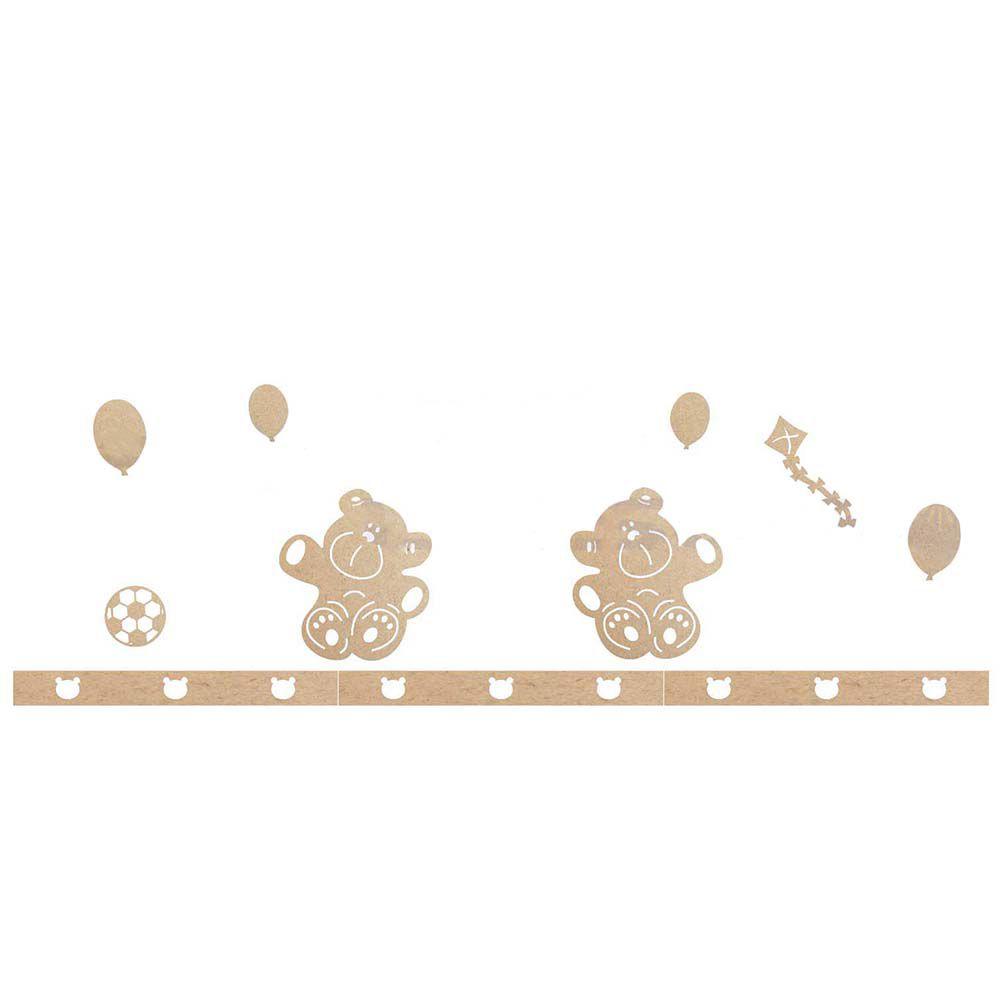 Kit decoração mdf 14pçs urso pipa bola quarto infantil bebê