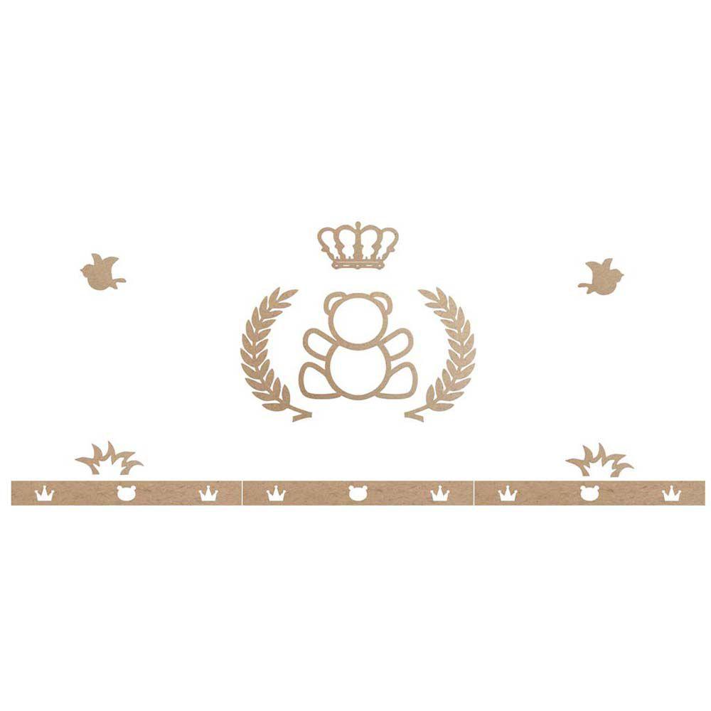 Kit decoração mdf urso príncipe coroa quarto bebê infantil