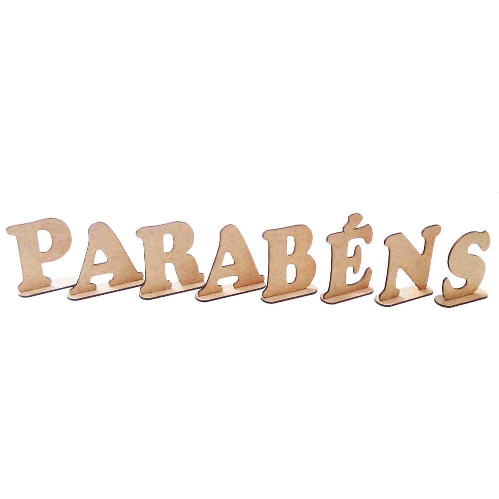 Kit Letras palavra mdf PARABÉNS 10cm altura decoração festa