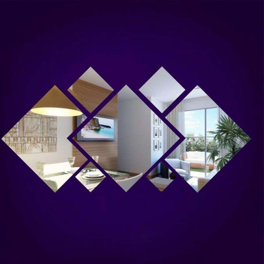 Kit M Espelho acrílico decorativo 7 peças modelo quadrados