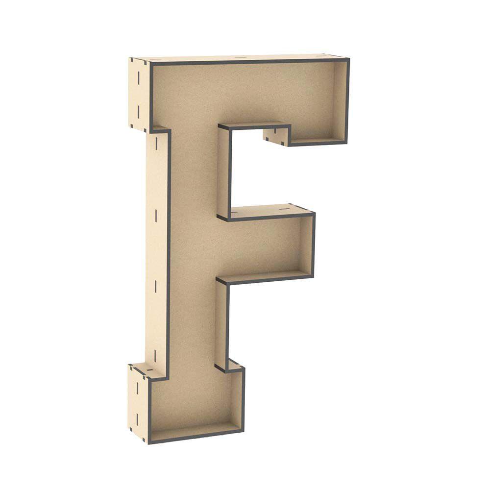 Letra caixa F 30cm mdf decoração mesa festa nome palavra
