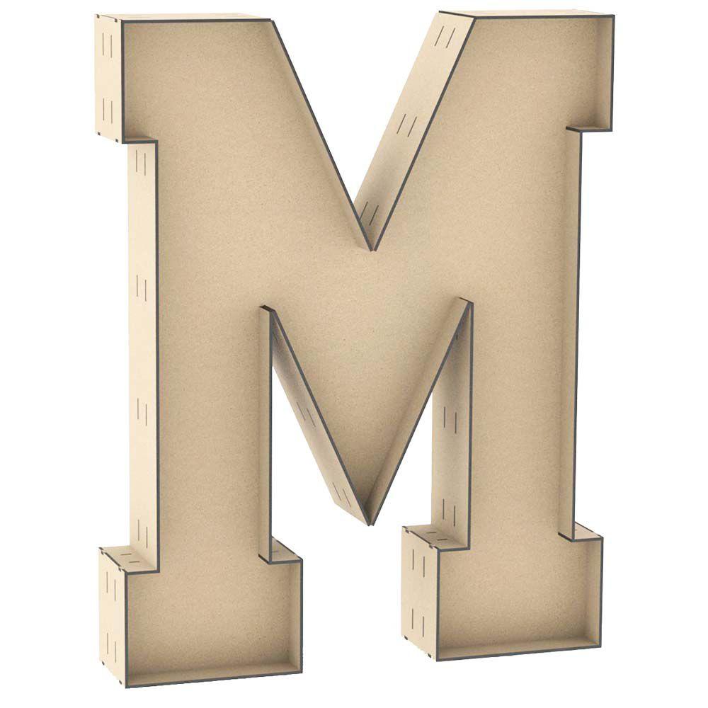 Letra caixa M mdf 1 metro centro duplo decoração chão festa
