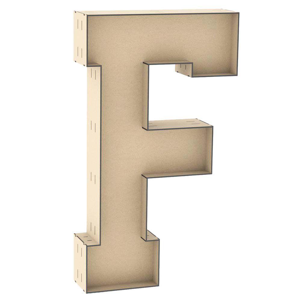 Letra caixa mdf F 60cm altura decoração nome palavra festa
