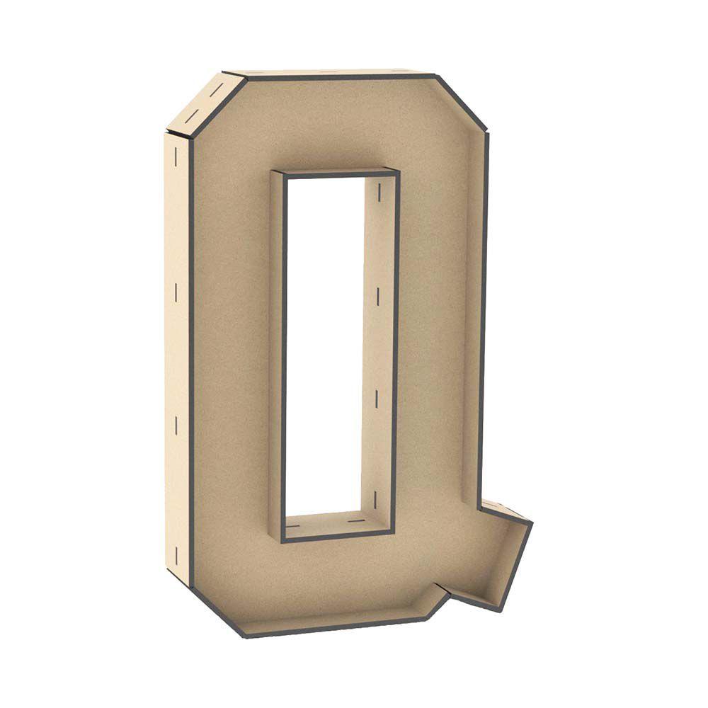 Letra caixa Q 30cm mdf laser enfeite mesa nome frase palavra