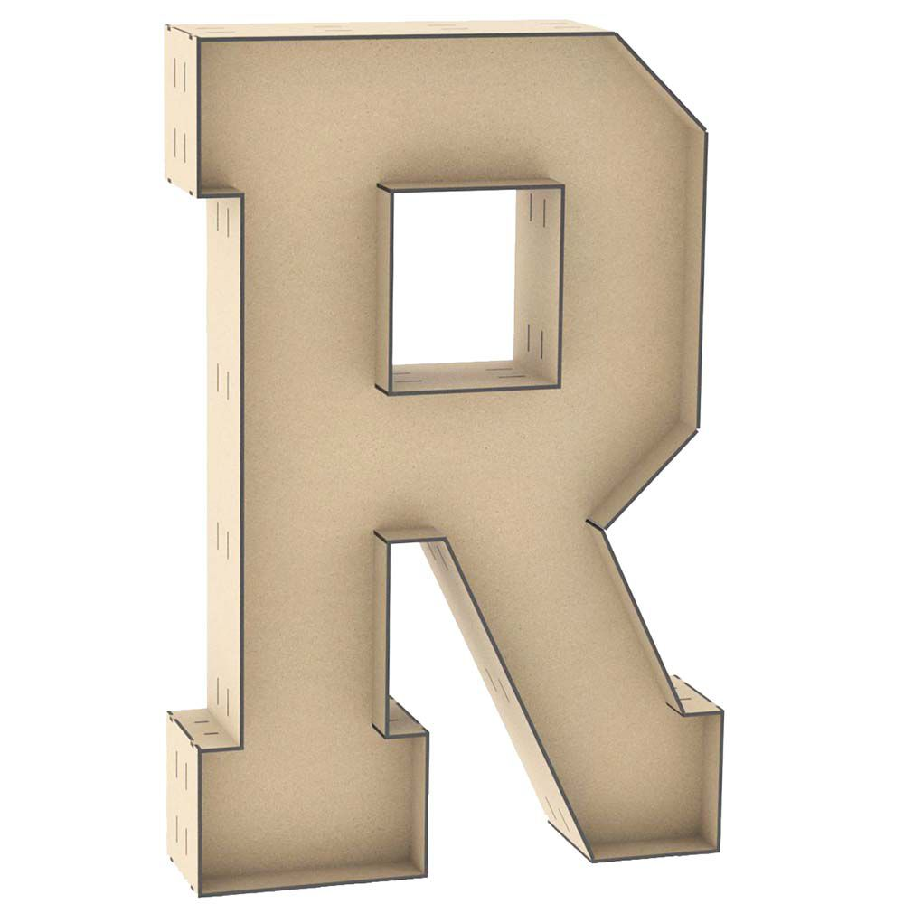 Letra caixa R 60cm mdf centro duplo letra decorativa festa