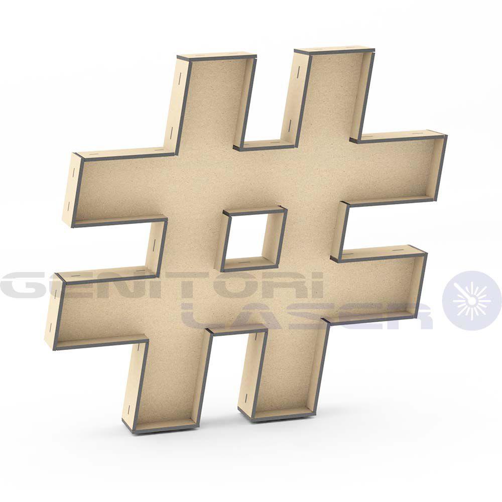 Letra Caractere # hashtag tipo caixa 30cm altura mdf laser