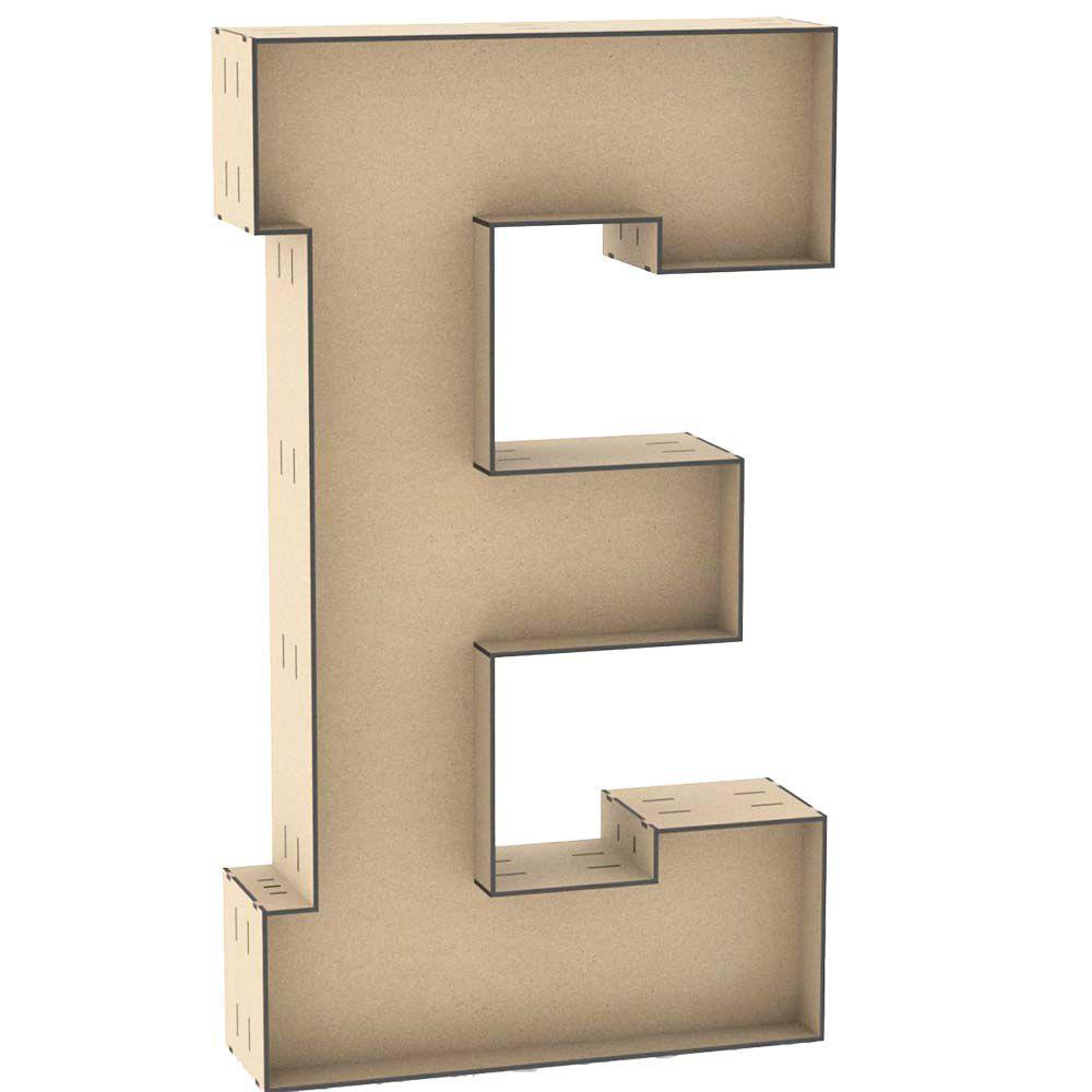 Letra E tipo caixa mdf 100cm 1 metro altura centro duplo
