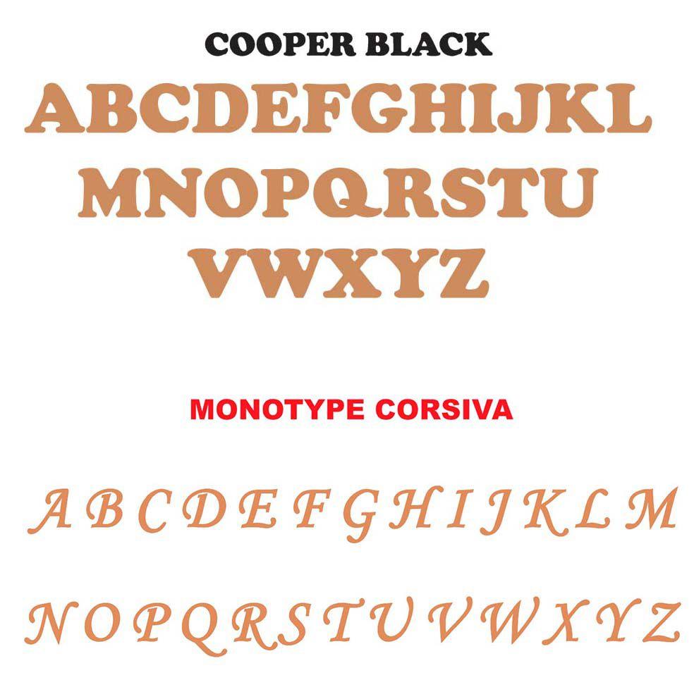 Letra forma 2 cm cartela 25 letras  fonte cooper ou monotype