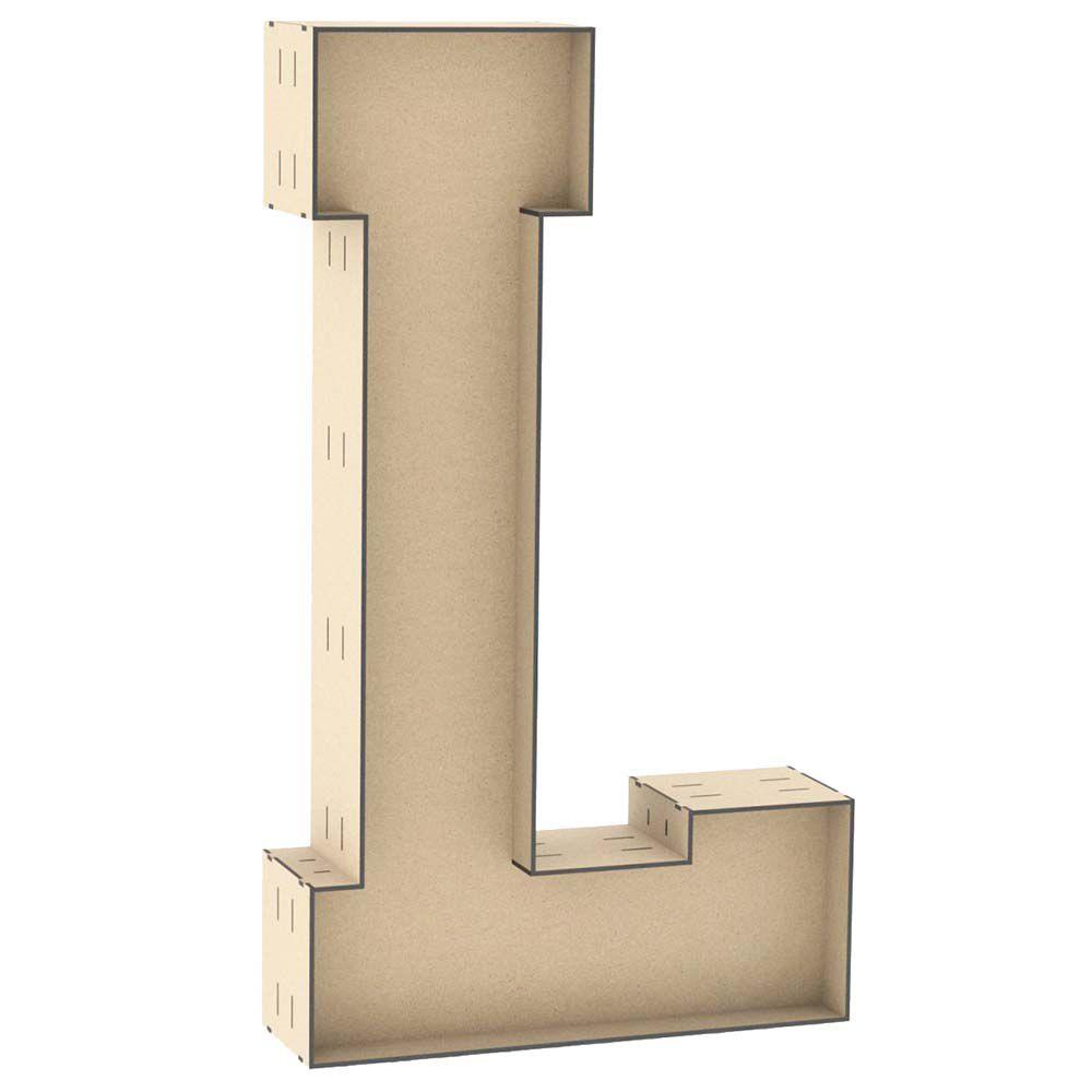 Letra L mdf tipo caixa 60cm altura centro duplo reforçado