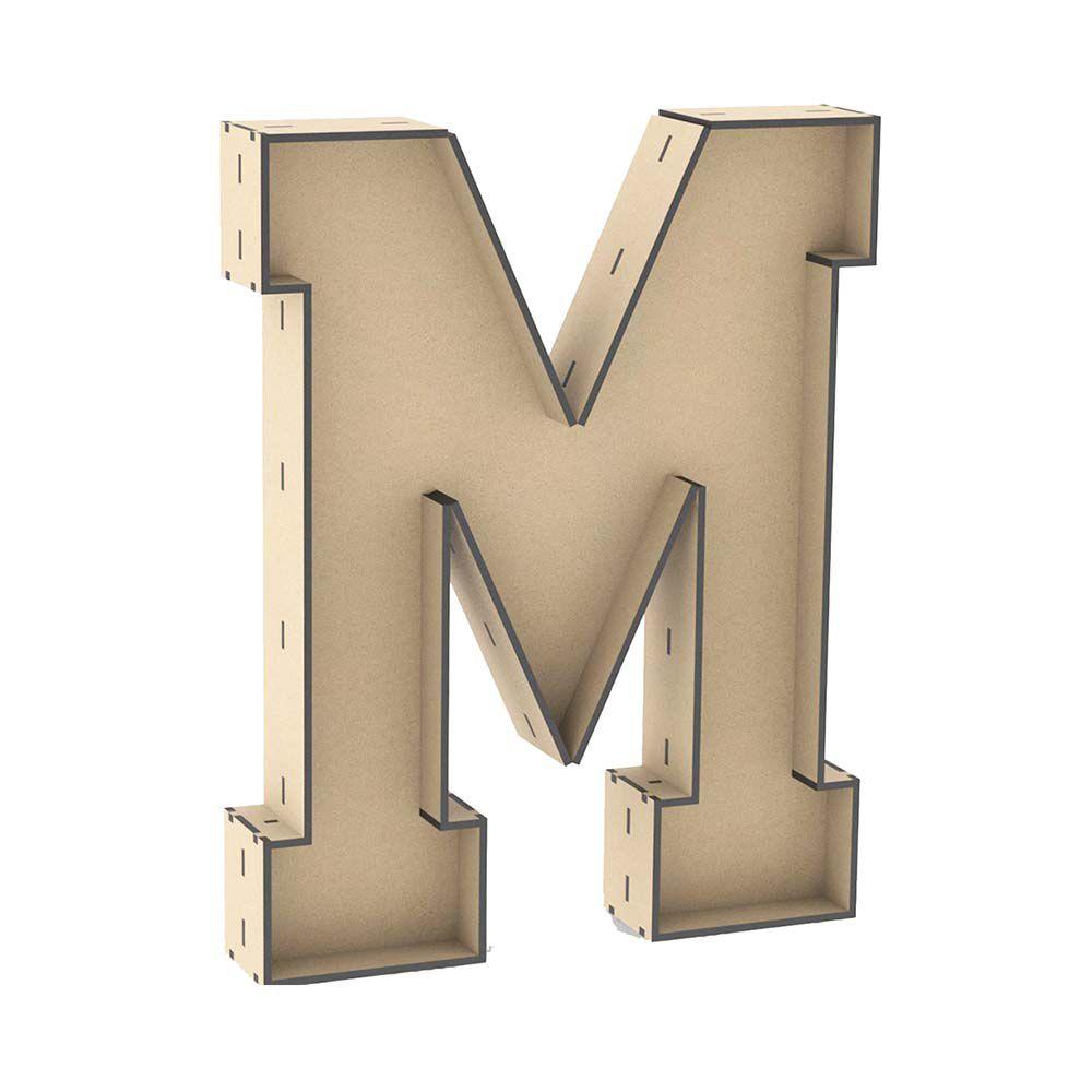 Letra M tipo caixa 30cm altura mdf laser enfeite mesa festa
