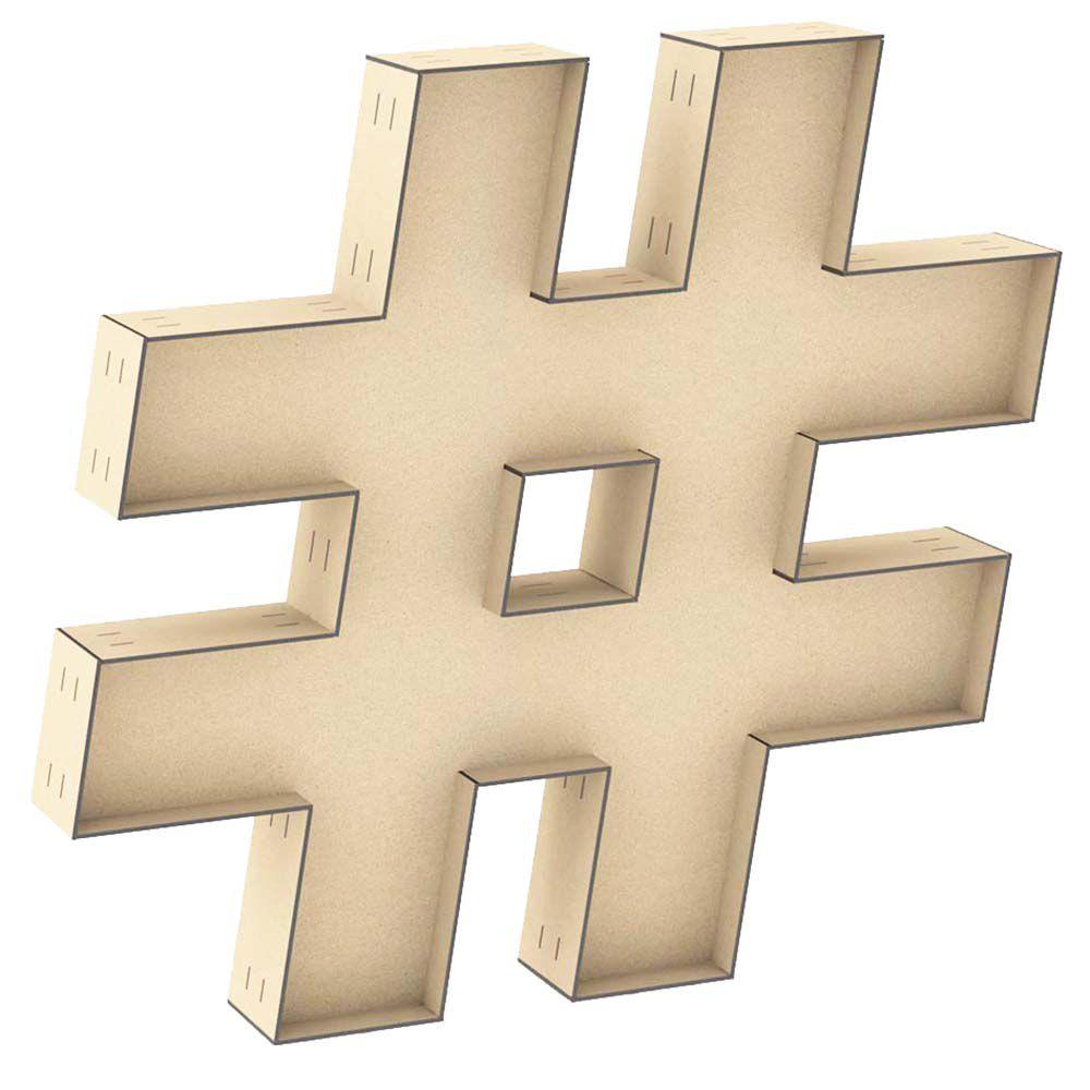 Letra mdf caractere # hashtag caixa 60cm centro duplo