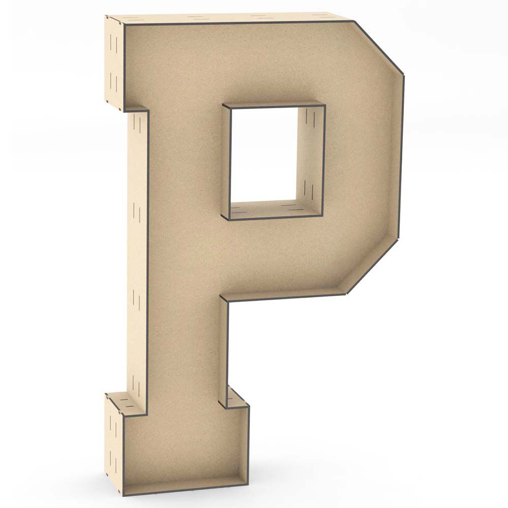 Letra P caixa 60cm mdf centro duplo letra de chão decoração