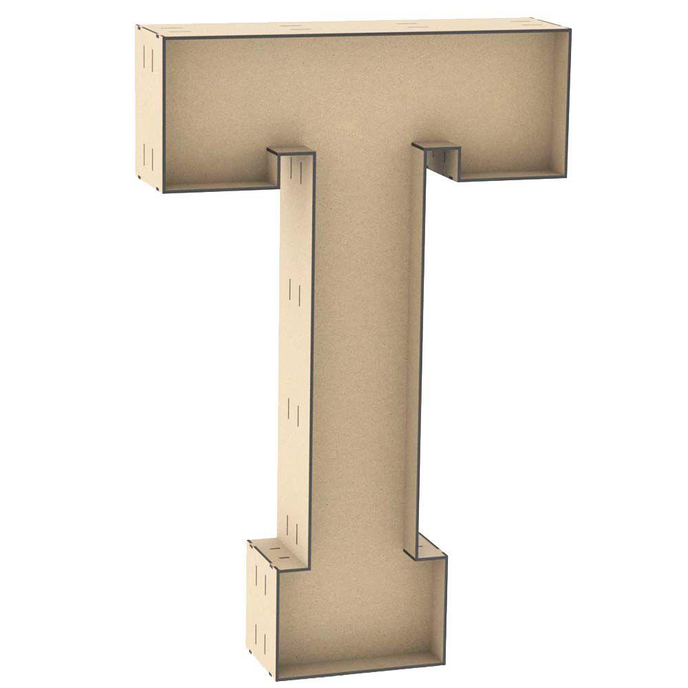 Letra T tipo caixa 60cm altura centro reforçado mdf laser