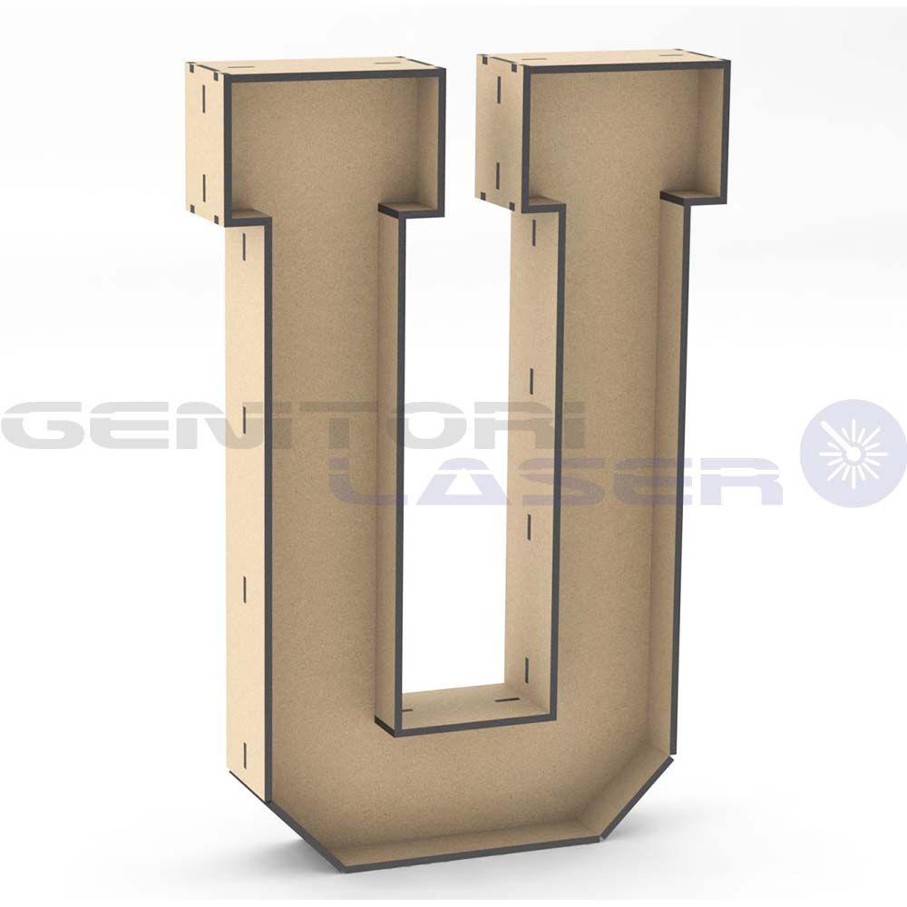 Letra U tipo caixa 30cm mdf decoração aniversário festa arte