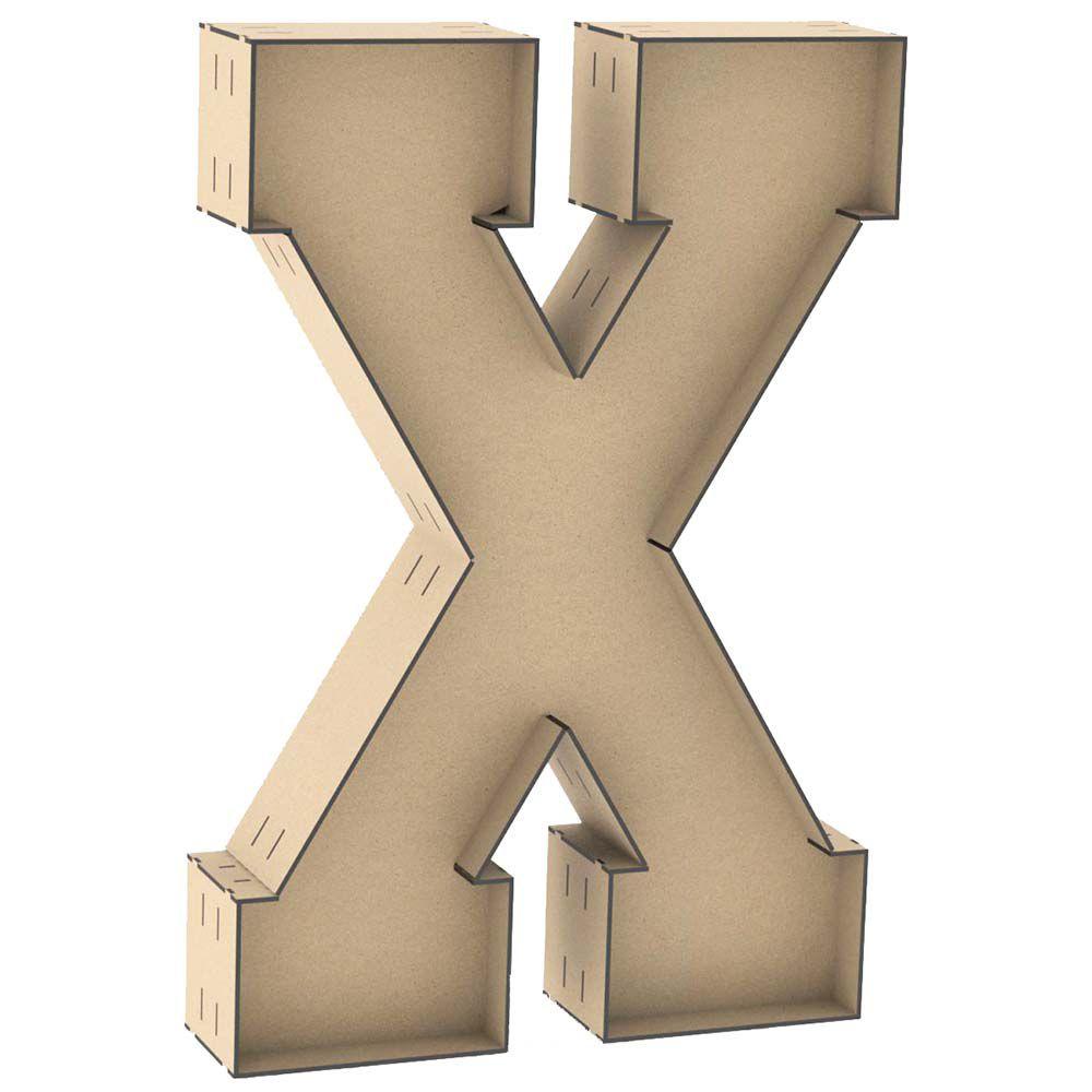 Letra X caixa 1mt mdf centro placa dupla lateral reforçada