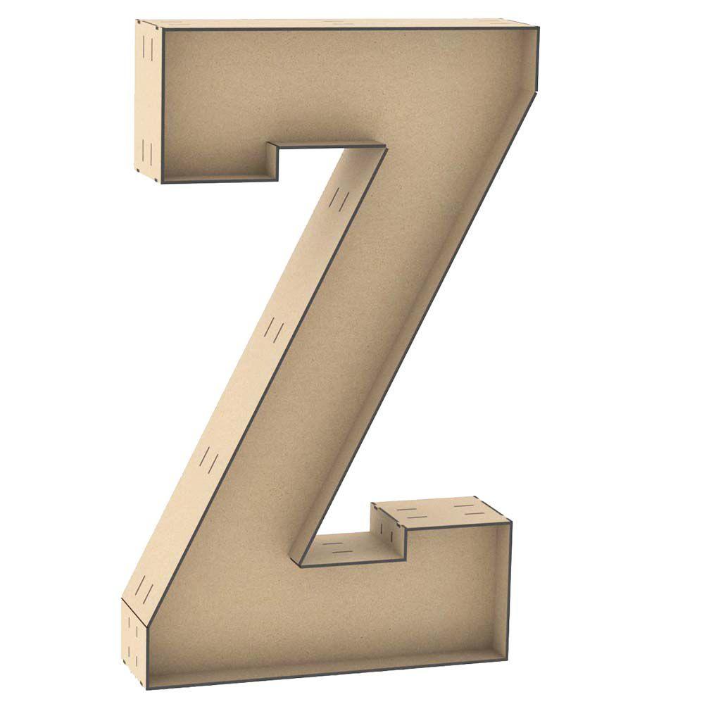 Letra Z caixa 60cm mdf centro duplo letra luminária festa