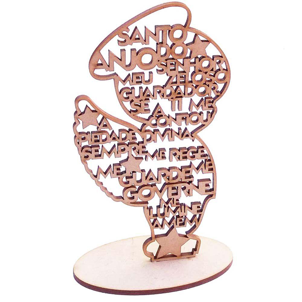 Menino Anjo anjinho 15cm com base oração santo anjo batizado