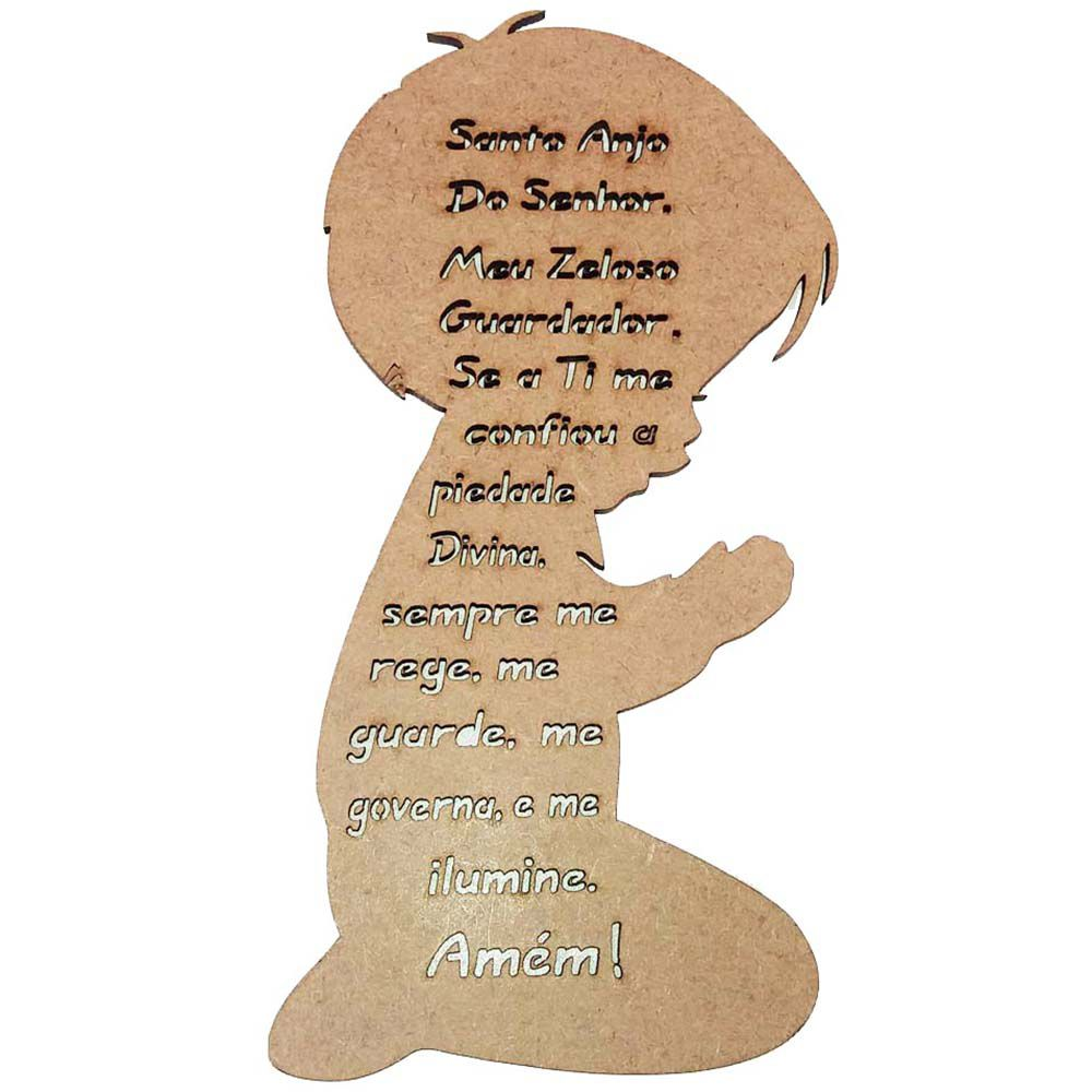 Menino rezando 15 cm placa mdf Oração prece Anjo da Guarda