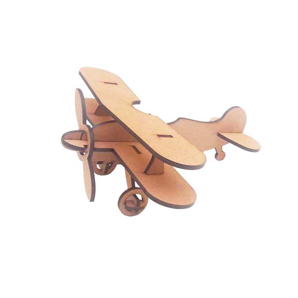Mini Avião Biplano 8 cm Príncipe Quebra Cabeça 3D mdf