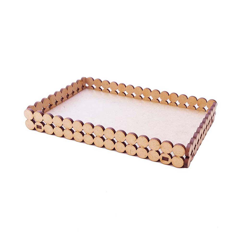 Mini Bandeja  mdf retangular perola 11,5 x 7 cm artesanato