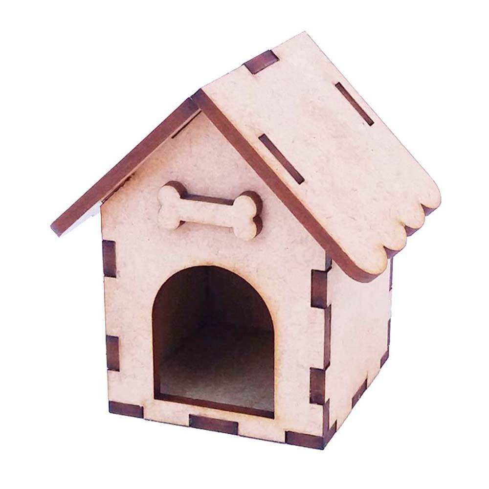 Mini casinha de cachorro 8 cm miniatura cenário mdf pluto
