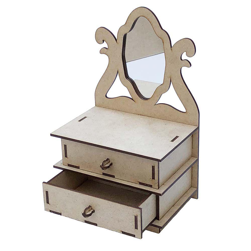 Mini cômoda mdf 15 cm com espelho penteadeira porta jóias