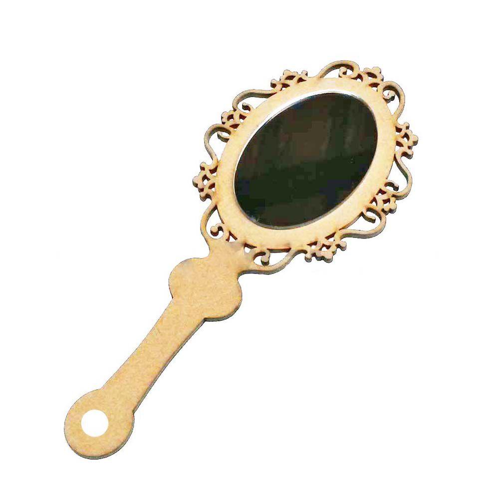 Mini Espelho de Mão Princesa Arabesco 12cm mdf e refletivo