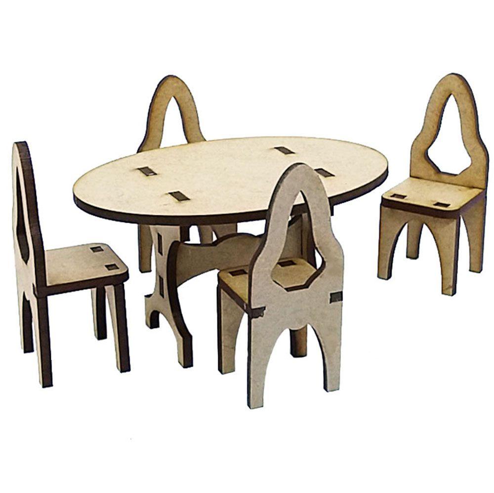 Mini mesa oval 10 cm com 4 cadeira miniatura mini móveis mdf