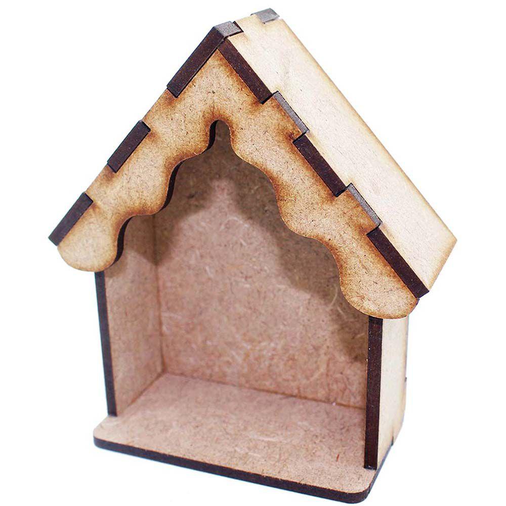 Mini Oratório mdf 10 cm Modelo Capela capelinha ondulada