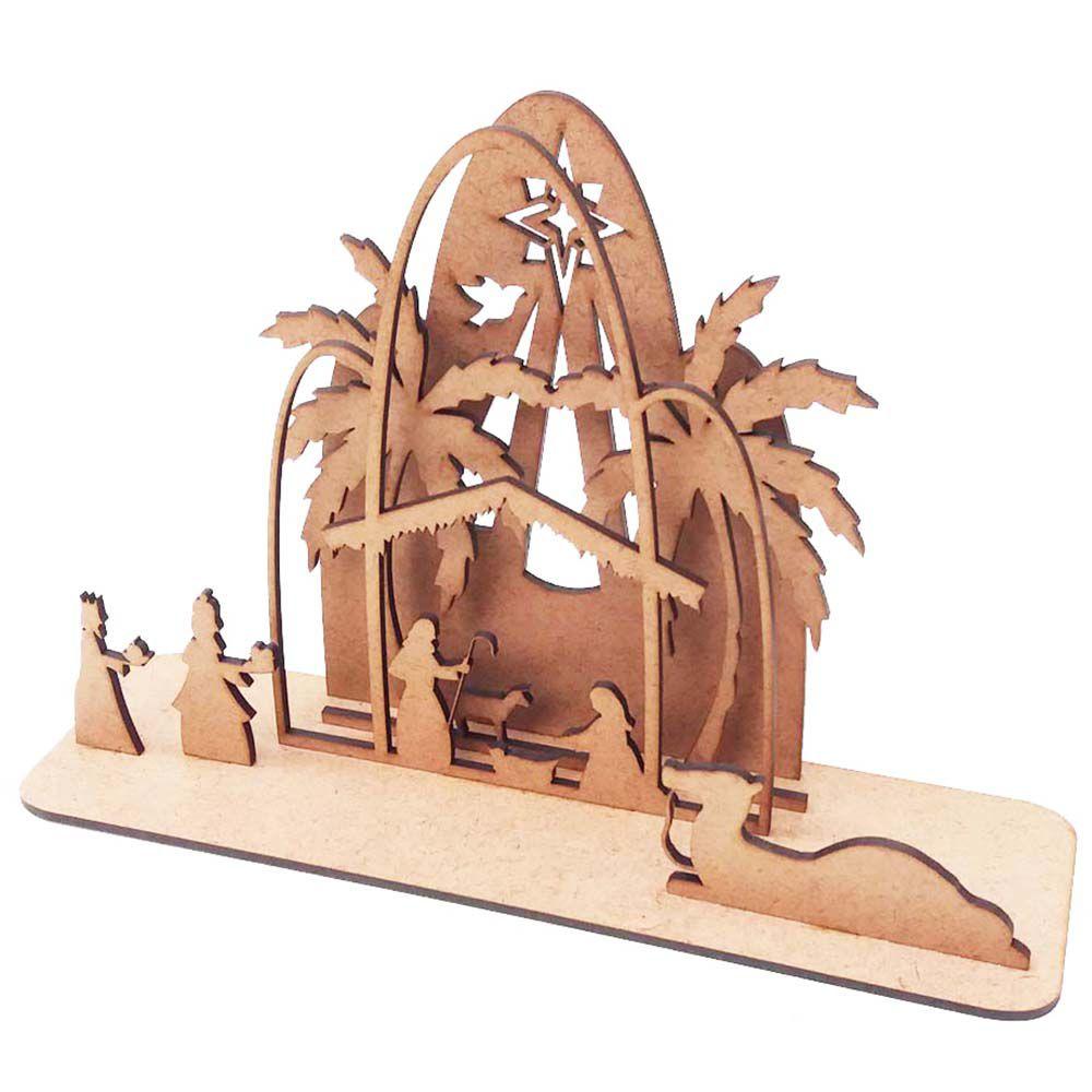 Mini presépio 3D mdf decoração natal  26 x 17cm menino Jesus
