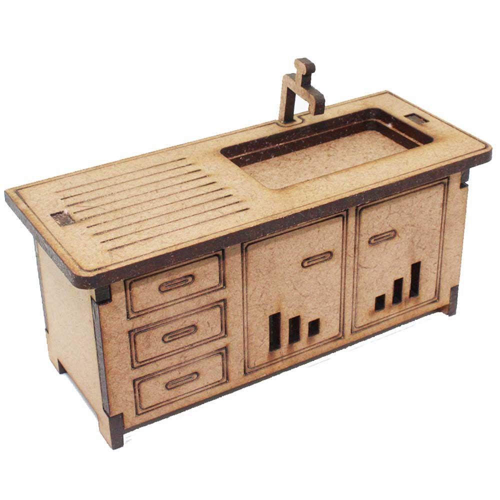 Miniatura mini pia de cozinha mdf casa de bonecas cenário