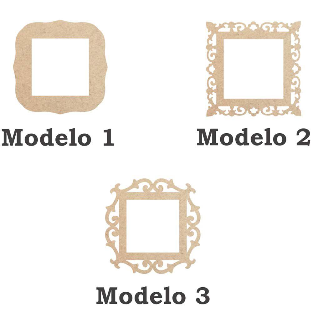 Moldura mdf quadrada 30 cm fundo vazado 3 opções de modelo