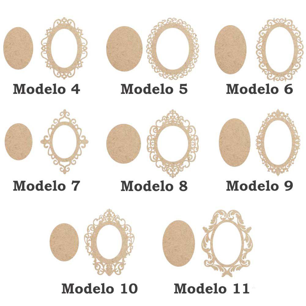 Moldura placa mdf Oval 14 cm com fundo 8 modelos a escolha