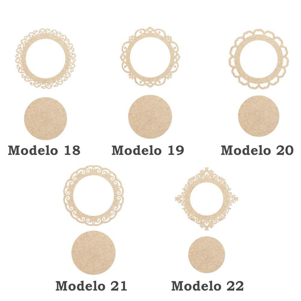 Moldura placa mdf Redonda 19cm com fundo opção 5 modelos