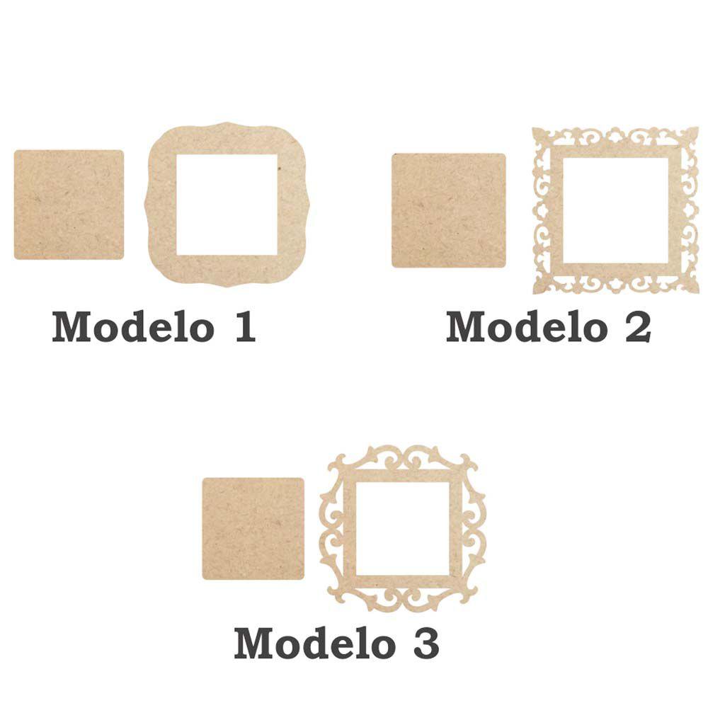 Moldura Quadrada quadro mdf 14cm com fundo opção 3 modelos