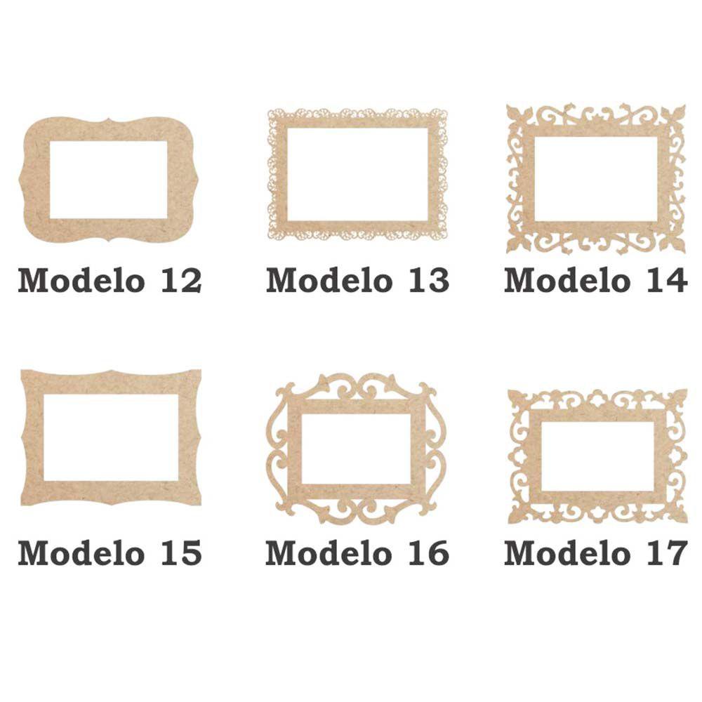 Moldura Retangular 19cm aplique mdf artesanato 6 opções