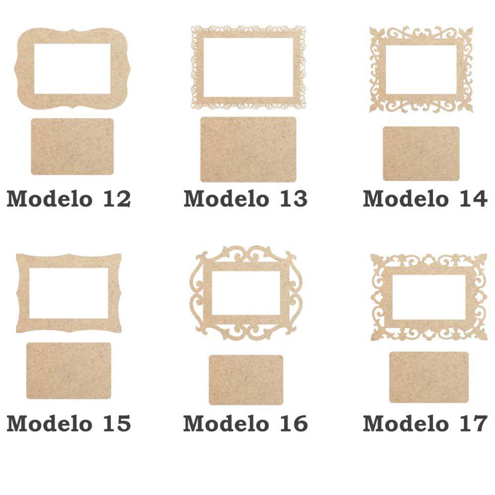 Moldura Retangular mdf 19cm com fundo artesanato 6 opções