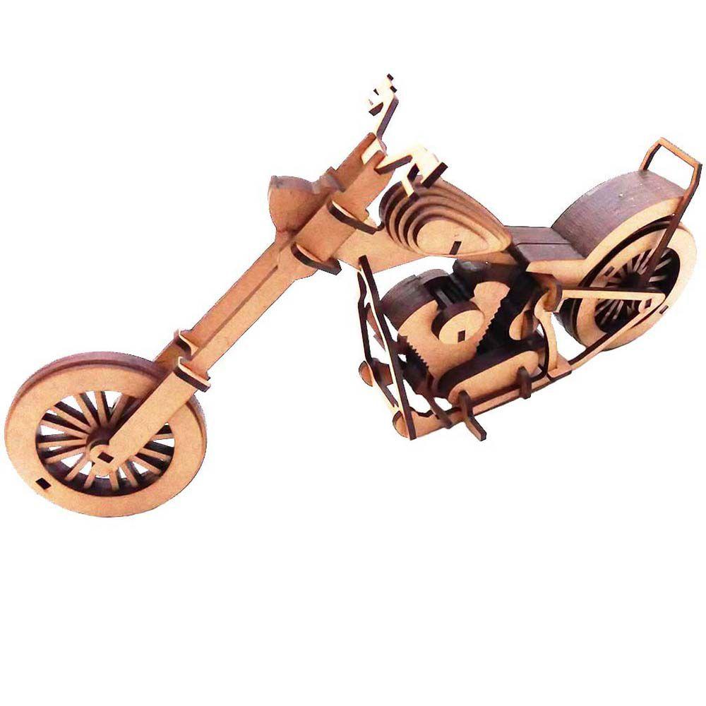 Moto chooper Quebra Cabeça 3D mdf veiculo miniatura