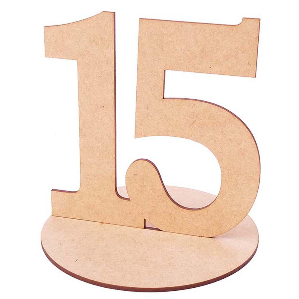 Numero 15 mdf 15 cm com base 15 anos festa centro de mesa