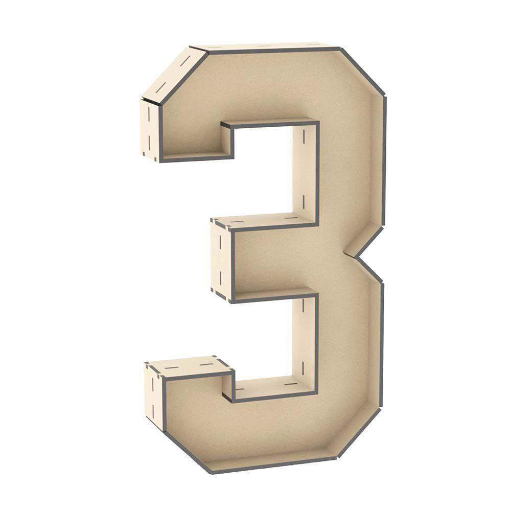 Numero 3 formato caixa 30 cm formar texto nome frase palavra
