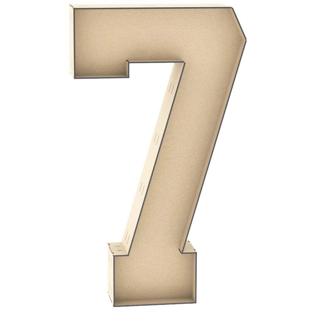 Numero 7 tipo caixa 60 cm reforçado mdf decoração