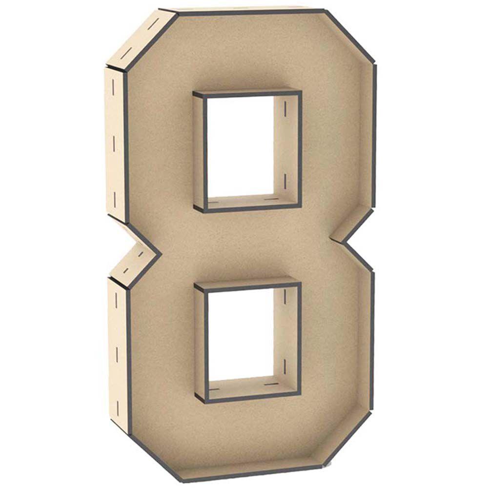 Numero 8 mdf caixa 60 cm reforçado enfeite aniversário