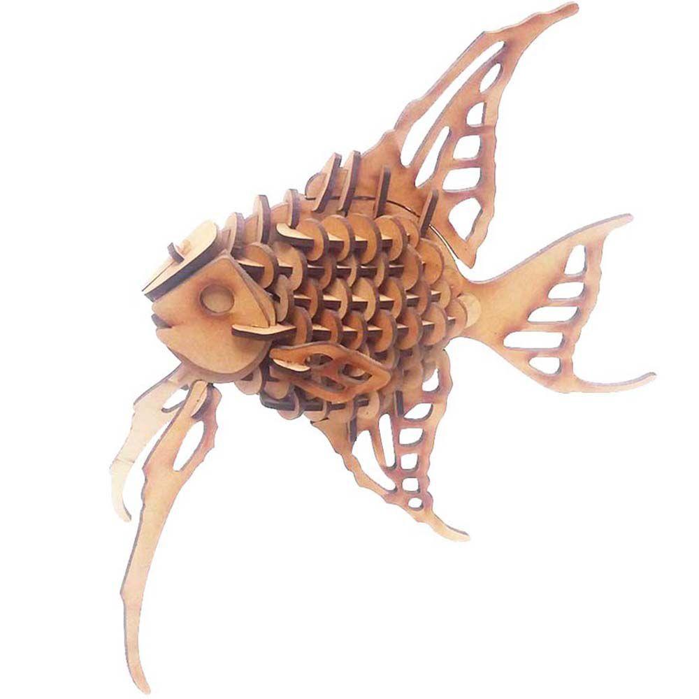 Peixe Acará Quebra Cabeça 3D mdf coleção animais peixe anjo