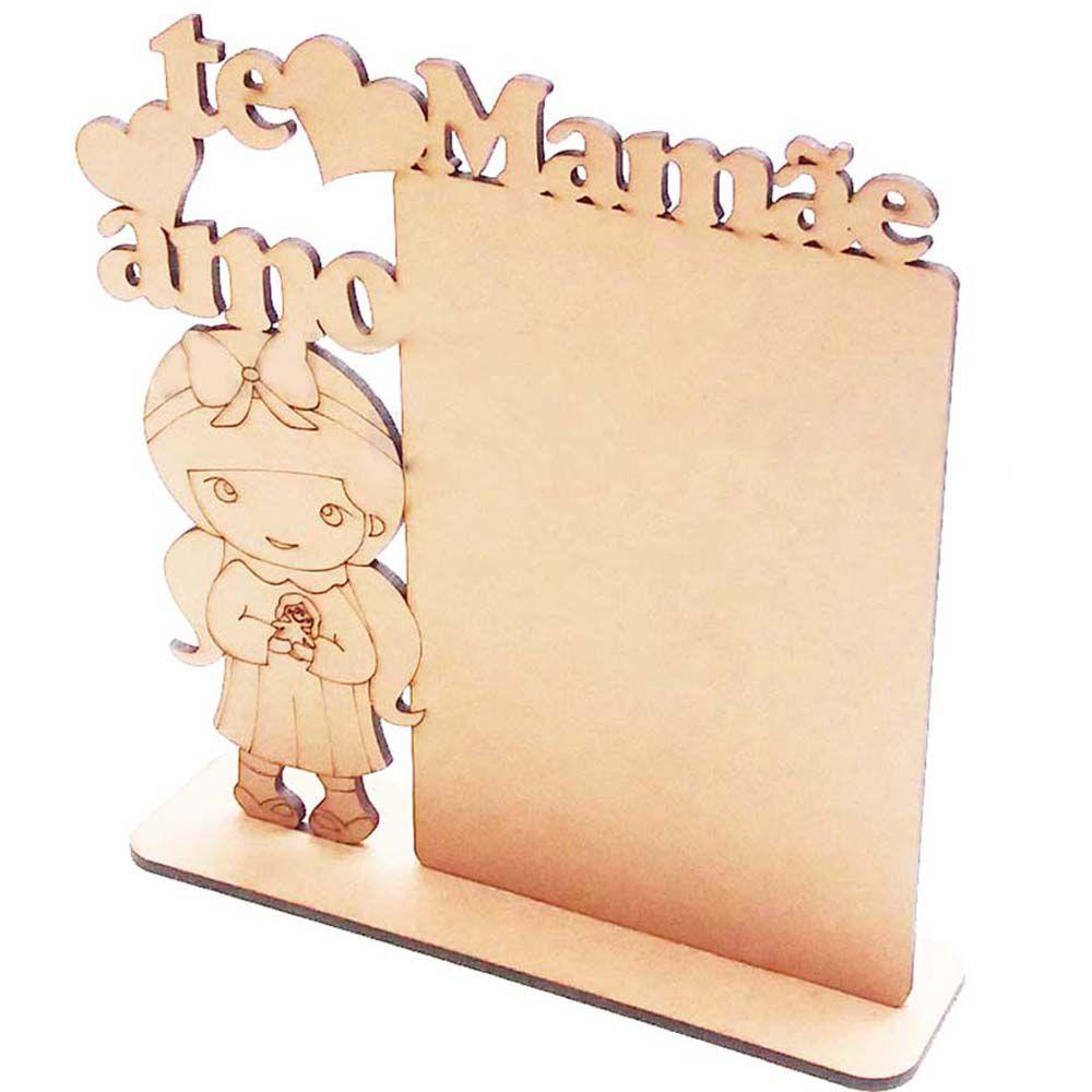 Placa mdf foto 10x15 vt menina mamãe eu te amo dia das mães