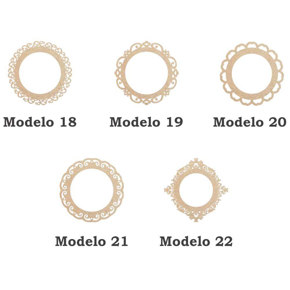 Placa mdf moldura Redonda 19cm artesanato festa 5 opções